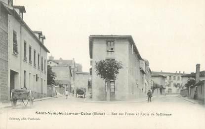 """CPA FRANCE 69 """" St Symphorien sur Coise, Rue des Fosses et Route de St Etienne"""""""