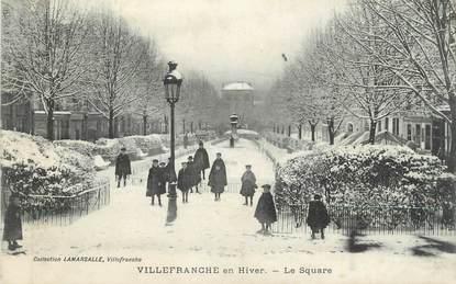"""CPA FRANCE 69 """" Villefranche sur Saône, Le square en hiver"""""""