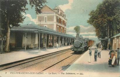 """CPA FRANCE 69 """" Villefranche sur Saône, Vue intérieure de la gare """" / TRAIN"""