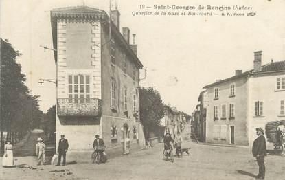 """CPA FRANCE 69 """" ST Georges de Reneins, Quartier de la Gare et Boulevard """""""