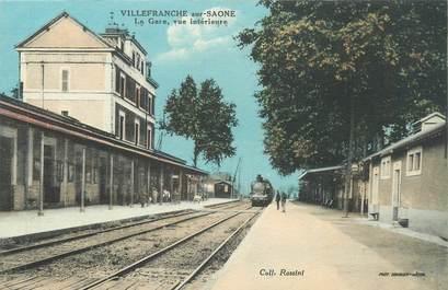 """CPA FRANCE 69 """" Villefranche sur Saône, Vue intérieure de la gare"""" / TRAIN"""