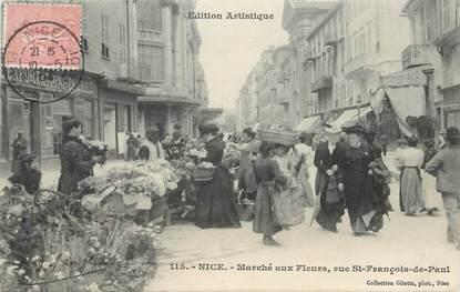 """/ CPA FRANCE 06 """"Nice,le marché aux fleurs, rue Saint François de Paul"""""""