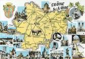 """71 SaÔne Et Loire CPSM FRANCE 71 """" Carte géographique de la Saône et Loire"""""""