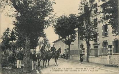"""CPA FRANCE 43 """" La Chaise Dieu, Avenue de la Gare, la Gendarmerie sur la Route de Nimes à Moulins"""""""
