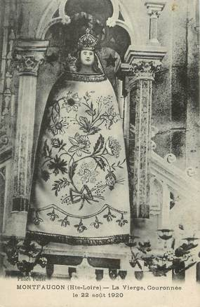 """CPA FRANCE 43 """" Monfaucon en Velay, La vierge couronnée le 22 août 1920"""""""