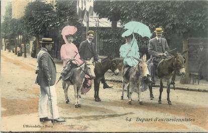 """CPA FRANCE 43 """" Le Puy en Velay, Départ d'excursionnistes"""" / ANE"""
