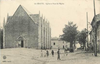 """CPA FRANCE 43 """" La Séauve , Eglise et Place de l'Eglise"""""""