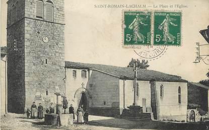 """CPA FRANCE 43 """" St Romain Lachalm, La Place et l'Eglise"""""""