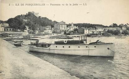 """CPA FRANCE 83 """"Ile de Porquerolles, Panorama vu de la jetée"""""""