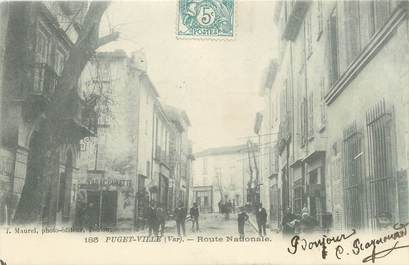 """CPA FRANCE 83 """"Puget Ville, Route Nationale"""""""