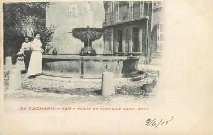 """CPA FRANCE 83 """" Saint Zacharie, Place et fontaine St Roch"""""""