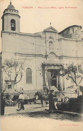 """CPA FRANCE 83 """" Toulon, La Place Louis Blanc, L""""église St François"""""""