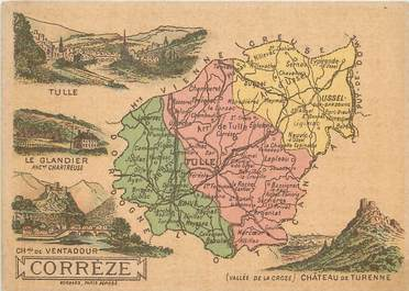 "/ CPA FRANCE 19 ""Correze"" / CARTE GEOGRAPHIQUE"