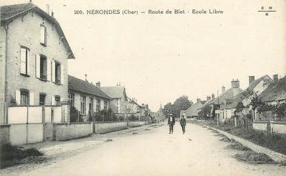 """/ CPA FRANCE 18 """"Nérondes, route de Blet, école libre"""""""