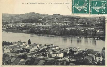 """CPA FRANCE 69 """"Condrieu, La Maladière et le Rhône"""""""