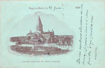 "CPA FRANCE 71 "" Paray le Monial, Couvent visitation et chevet basilique"""