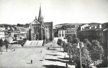 """CPSM FRANCE 42 """" Firminy, Place du Breuil et Eglise St Firmin"""""""