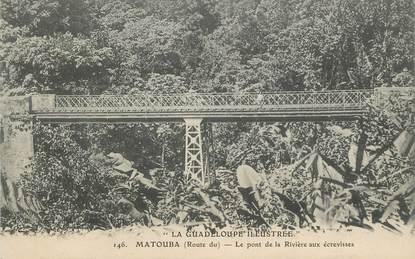 """CPA GUADELOUPE illustrée """"Matouba, le pont de la Rivière aux écrevisses"""""""