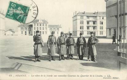 """CPA FRANCE 42 """" Roanne, La relève de la garde aux nouvelles casernes du Quartier de la Livatte"""""""