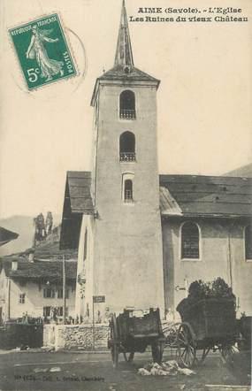 """CPA FRANCE 73 """" Aime, L'église et les ruines du vieux château"""""""
