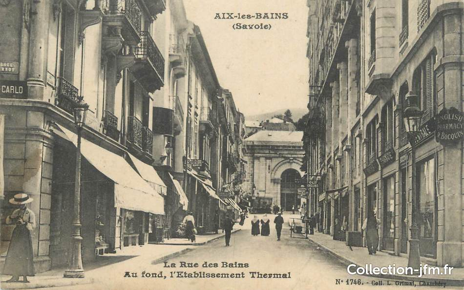 Cpa france 73 aix les bains la rue des bains 73 for Rue des bains