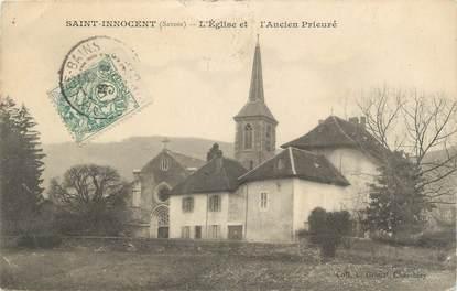"""CPA FRANCE 73 """" St Innocent, L'église et l'Ancien Prieuré""""/ TYPE BLANC 1 BIS"""