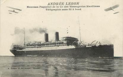 """CPA BATEAU """"Le Paquebot Andrée Lebon"""" /TSF"""