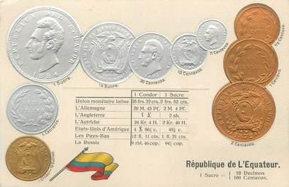 """CPA ARGENT MONNAIE """"La République de l'Equateur""""/ Carte en relief"""