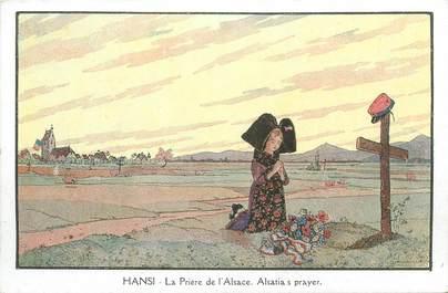 """CPA ILLUSTRATEUR HANSI """" La prière de l'Alsace"""""""
