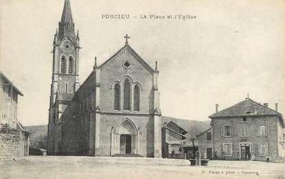 """CPA FRANCE 38 """"Porcieu, La place et l""""église"""""""