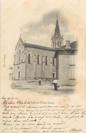 """CPA FRANCE 38 """"Porcieu, L'église"""" / CACHET PERLE"""