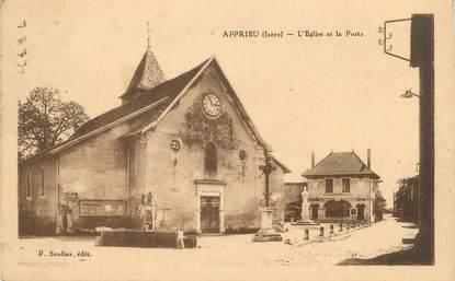 """CPA FRANCE 38 """"Apprieu, L'église et la Poste"""""""