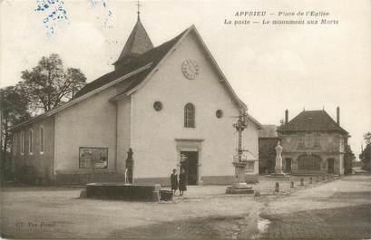 """CPA FRANCE 38 """"Apprieu, Place de l'église, la poste et le monument aux morts"""""""