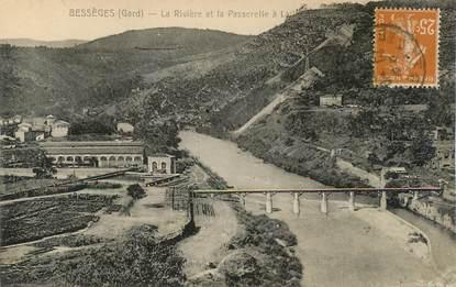 """CPA FRANCE 30 """"Bessèges, la rivière et la Passerelle à Lalle"""""""