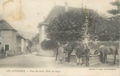 """CPA FRANCE 38 """" Les Avenières, Place Bacchuset, Route du Bugey"""""""