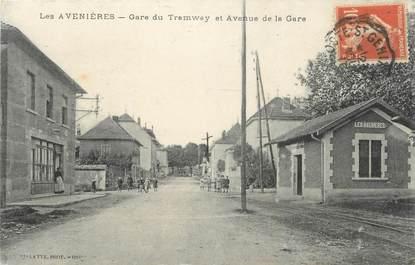 """CPA FRANCE 38 """"Les Avenières, Gare du Tramway et avenue de la Gare"""""""