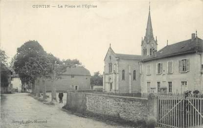 """CPA FRANCE 38 """"Curtin, La Place et l'église"""""""