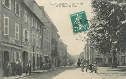 """CPA FRANCE 38 """"Montalieu, La Place et la Grande Rue"""""""