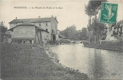 """CPA FRANCE 38 """" Morestel, Le Moulin de Roche et la Save"""""""
