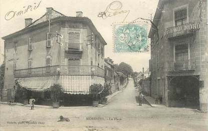 """CPA FRANCE 38 """" Morestel, La place """""""