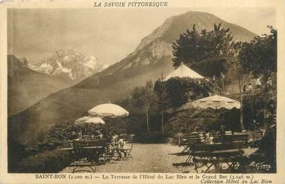 """CPA FRANCE 73 """" St Bon, La terrasse de l'Hôtel du Lac Bleu et le Grand Bec"""""""