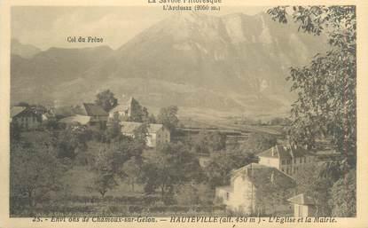 """CPA FRANCE 73 """"Hauteville,, L'église et la Mairie"""""""
