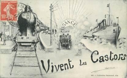 """CPA FRANCE 13 """" Aix en Provence, Vivent les Castors"""" / ARTS ET METIIERS"""