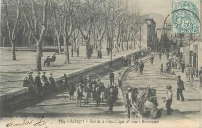 """CPA FRANCE 13 """" Aubagne, Rue de la République et Cours Beaumond"""""""