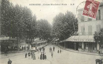 """CPA FRANCE 13 """" Aubagne, Cours Maréchal Foch"""" / TRAMWAY"""