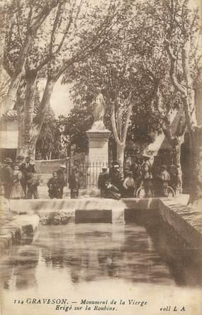 """CPA FRANCE 13 """" Graveson, Monument de la Vierge érigé sur La Roubine"""""""