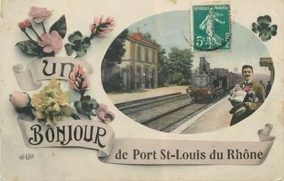 """CPA FRANCE 13 """" Port St Louis du Rhône, La gare"""" / TRAIN"""