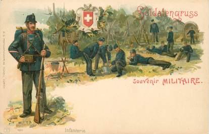 """CPA SUISSE / GRUSS """"Soldat / Artillerie"""" / MILITAIRE"""