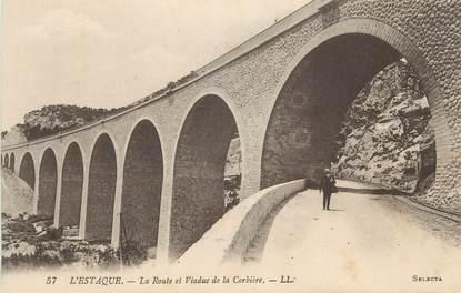 """CPA FRANCE 13 """" Marseille, L'Estaque, La route et le viaduc de Corbière"""""""