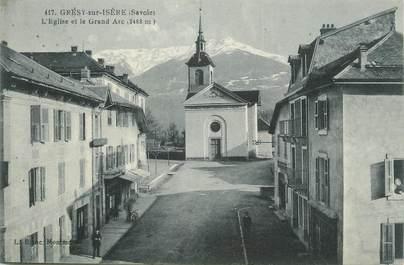 """CPA FRANCE 73 """" Grésy sur Isère, L'église et le Grand Arc"""""""